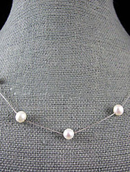 cheap -Pearl Sterling Silver Pearl Necklace  -  Single Strand White Black Pink Necklace For Wedding Party Anniversary