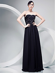 cheap -A-Line Strapless Floor Length Chiffon Formal Evening Military Ball Dress with Beading Draping Side Draping Ruching by TS Couture®