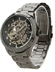 baratos -SHENHUA Homens Relógio de Pulso / relógio mecânico Gravação Oca Aço Inoxidável Banda Amuleto Preta / Automático - da corda automáticamente