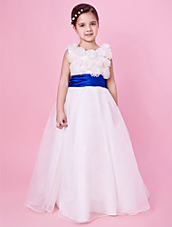 A-Line Princess Floor Length Flower Girl Dress - Organza Satin Sleeveless Jewel Neck with Ribbon by LAN TING BRIDE®