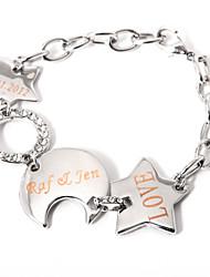 braccialetto personalizzato stella e luna calante classica stile femminile