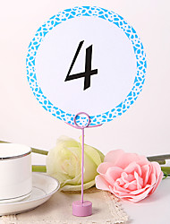 cheap -Round Table Number Card - Blue Elegant Flower