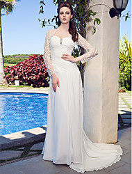 cheap -Sheath / Column Sweetheart Neckline Court Train Chiffon / Lace Made-To-Measure Wedding Dresses with Beading / Ruched / Criss-Cross by LAN TING BRIDE® / Illusion Sleeve