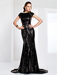 cheap -Mermaid / Trumpet Bateau Neck Sweep / Brush Train Sequined Formal Evening / Military Ball Dress with Sequin by TS Couture®