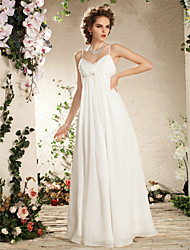cheap -Sheath / Column Spaghetti Straps Floor Length Chiffon Wedding Dress with Beading Draped Side-Draped by LAN TING BRIDE®