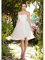 cheap -Ball Gown Sweetheart Knee Length Taffeta Tulle Custom Wedding Dresses with Criss-Cross Ruched by LAN TING BRIDE®