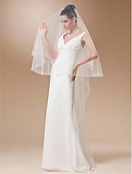 cheap -One-tier Beaded Edge Scalloped Edge Wedding Veil Chapel Veils 53 Beading 102.36 in (260cm) Tulle A-line, Ball Gown, Princess, Sheath/