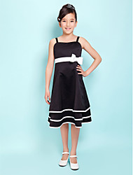 cheap -A-Line Spaghetti Straps Knee Length Satin Junior Bridesmaid Dress with Bow(s) Sash / Ribbon by LAN TING BRIDE®