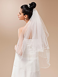 Two-tier Pencil Edge Wedding Veil Fingertip Veils With Pearls 35.43 in (90cm) Tulle A-line, Ball Gown, Princess, Sheath/ Column, Trumpet/