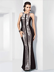cheap -Mermaid / Trumpet Jewel Neck Floor Length Stretch Satin Sequined Formal Evening Military Ball Dress with Sequins by TS Couture®