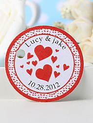 baratos -etiqueta de favor personalizada - coração vermelho (conjunto de 36) favores de casamento