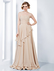 Sheath / Column Strapless Sweetheart Floor Length Chiffon Formal Evening Military Ball Dress with Sequins Ruching by TS Couture®
