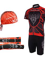 Kooplus Maglia con salopette corta da ciclismo Per uomo Manica corta Bicicletta Salopette Manicotti Cappelli Maglietta/Maglia Set di