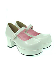 cheap -Lolita Shoes Classic Lolita Dress Classic Lolita Lolita High Heel Shoes Solid 7.5 CM White Black Red Pink For PU Leather/Polyurethane