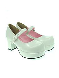 Schuhe Klassische/Traditionelle Lolita Lolita Stöckelschuh Schuhe einfarbig 7.5 CM Rosa Schwarz Weiß Rot FürPU - Leder/Polyurethan Leder