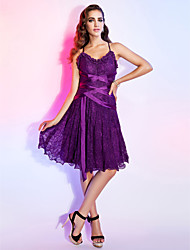 A-Line Princess V-neck Spaghetti Straps Knee Length Lace Cocktail Party Dress with Sash / Ribbon Ruffles by TS Couture®