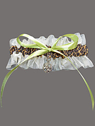 cheap -Organza Satin Fashion Wedding Garter with Leopard Print Garters