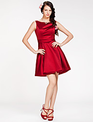 A-Line Princess Bateau Neck Short / Mini Satin Bridesmaid Dress with Sash / Ribbon by LAN TING BRIDE®