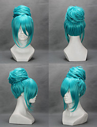 cheap -Cosplay Wigs Vocaloid Hatsune Miku Blue Medium Anime/ Video Games Cosplay Wigs 45 CM Heat Resistant Fiber Female