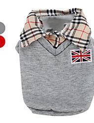 baratos -Cachorro Camiseta Roupas para Cães Formais Cinzento / Vermelho Algodão Ocasiões Especiais Para animais de estimação Homens Clássico