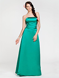 cheap -A-Line Princess Strapless Floor Length Satin Bridesmaid Dress with Criss Cross by LAN TING BRIDE®