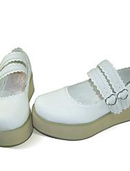 Sapatos Doce Lolita Plataforma Sapatos Cor Única 5 CM Para Couro PU/Couro de Poliuretano Couro de poliuretano