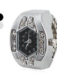 abordables -Femme Quartz Montre Bague Japonais Imitation de diamant Bande Etincelant Argent