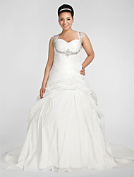 Ball Gown Sweetheart Chapel Train Taffeta Wedding Dress with Beading Criss-Cross Pick-Up Ruche by LAN TING BRIDE®