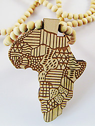 Map of Africa Pattern Wooden Necklace Christmas Gifts