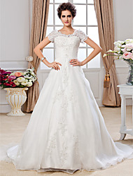 A-Line Jewel Neck Chapel Train Organza Wedding Dress with Beading Appliques Ruche by LAN TING BRIDE®