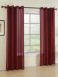 cheap -Rod Pocket Grommet Top Tab Top Double Pleat Two Panels Curtain Modern Solid Dining Room 100%Polyester Faux Linen Material Sheer Curtains