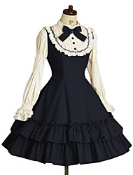 cheap -One-Piece/Dress Classic/Traditional Lolita Lolita Cosplay Lolita Dress Ink Blue Bowknot / Vintage Long Sleeve Knee-length Dress For Women Terylene
