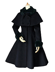 Coat Gothic Lolita Lolita Cosplay Lolita Dress Black White Blue Solid Long Sleeve Medium Length Coat For Velvet