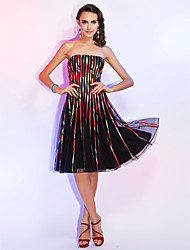 A-Line Princess Fit & Flare Strapless Knee Length Tulle Cocktail Party Holiday Dress with Pleats by TS Couture®