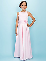 cheap -A-Line Jewel Neck Floor Length Satin Junior Bridesmaid Dress with Draping Flower(s) Sash / Ribbon by LAN TING BRIDE®