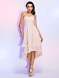 Sheath / Column Strapless Sweetheart Asymmetrical Chiffon Cocktail Party Homecoming Wedding Party Dress with Draping Criss Cross by TS