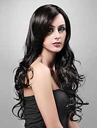 cheap -Synthetic Wig Wavy Layered Haircut Synthetic Hair 20 inch Black Wig Women's Very Long Capless Black