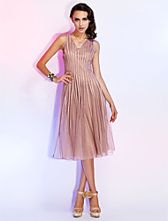 A-Line Princess V-neck Knee Length Tulle Cocktail Party Holiday Dress with Pleats by TS Couture®