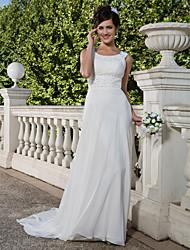 Tubinho Cauda Corte Chiffon Vestido de casamento com Miçangas Com Pregas de LAN TING BRIDE®