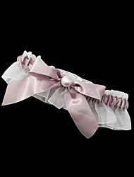 cheap -Garter Satin Polyester Bowknot Imitation Pearl Brown Wedding Accessories