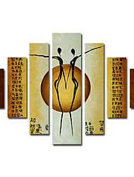 cheap -Hand-Painted Abstract / People More than Five Panels Canvas Oil Painting For Home Decoration