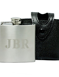 cheap -Personalized Monogram 5-oz Flask with Leather Holder