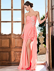 cheap -Sheath / Column Strapless Sweetheart Asymmetrical Chiffon Prom Dress with Beading by TS Couture®