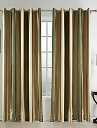 cheap -Rod Pocket Grommet Top Tab Top Double Pleat Two Panels Curtain Mediterranean, Print Stripe Bedroom 65% Rayon/35%Polyester Rayon Material