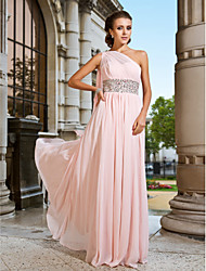 Sheath / Column One Shoulder Floor Length Chiffon Prom Formal Evening Dress with Beading Side Draping by TS Couture®
