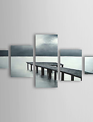 cheap -Hand-Painted Landscape Five Panels Canvas Oil Painting For Home Decoration