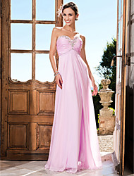 Sheath / Column Strapless Sweetheart Floor Length Chiffon Prom Formal Evening Military Ball Dress with Beading Ruching by TS Couture®