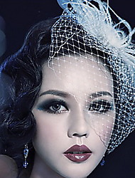 cheap -Tulle Crystal Feather Fabric Tiaras Birdcage Veils 1 Wedding Special Occasion Party / Evening Outdoor Headpiece