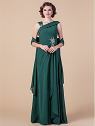 Sheath / Column Straps Floor Length Chiffon Mother of the Bride Dress with Beading Draping Side Draping by LAN TING BRIDE®