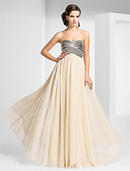 cheap -Sheath / Column Strapless Sweetheart Floor Length Tulle Prom Formal Evening Military Ball Dress with Draping Criss Cross by TS Couture®